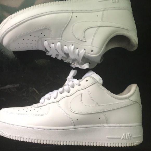 NIKE AIR FORCE ONES ALL WHITE w METAL TIP LACES
